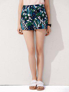 Pantalones Cortos De Talle Alto De Flores - Azul S