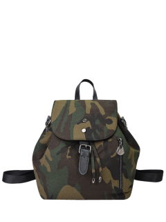 Buckle Strap Camo Print Backpack - Camouflage