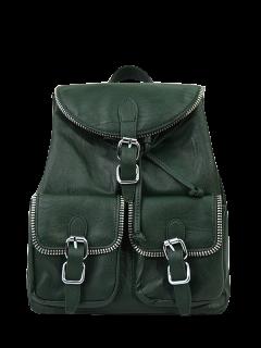 Punk Buckles Front Pockets Backpack - Blackish Green