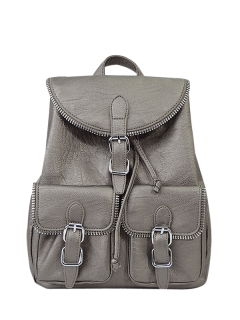 Punk Buckles Front Pockets Backpack - Silver Gray