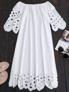 Vestido De Encaje Con Vuelo Con Hombros Al Aire - Blanco L