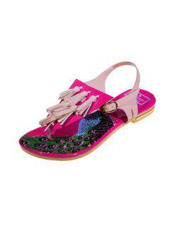 Tassels Colour Block Sandals - Pink 39