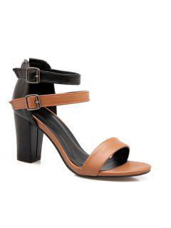 Colour Block Block Heel Sandals - Light Brown 37