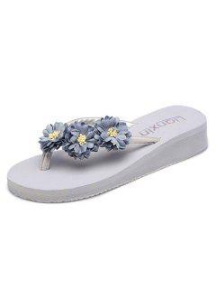 Flat Heel Flowers Slippers - Gray 37