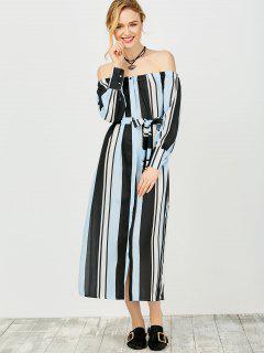 Vestido Fuera Del Hombro Con Multi-rayas - Azul Y Negro M