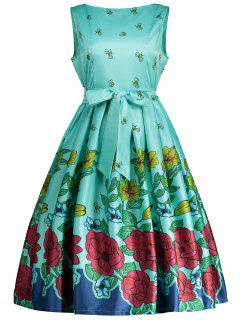 Belted Bee Printed Sleeveless Dress - Green Xl
