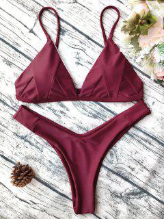 Weich Gepolsterte Cami Shell Bikini Set - Burgund L