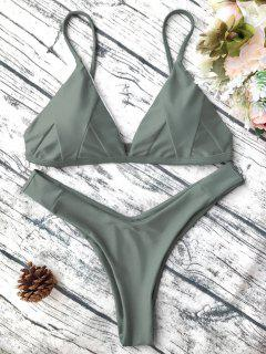 Soft Padded Cami Shell Bikini Set - Army Green M