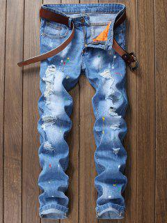 Casual Zip Fly Broken Hole Straight Denim - Denim Blue 38