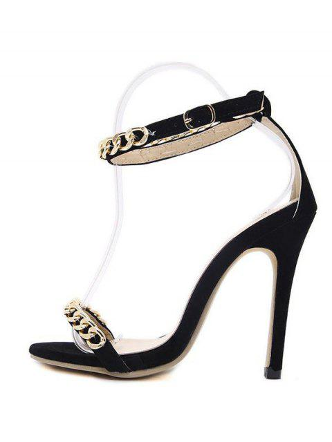 new Mini Heel Chains Ankle Strap Sandals - BLACK 37 Mobile