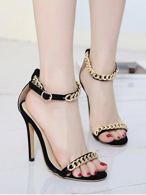 outfit Mini Heel Chains Ankle Strap Sandals - BLACK 39 Mobile