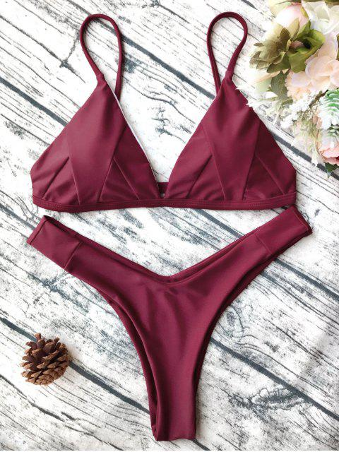 trendy Soft Padded Cami Shell Bikini Set - BURGUNDY L Mobile