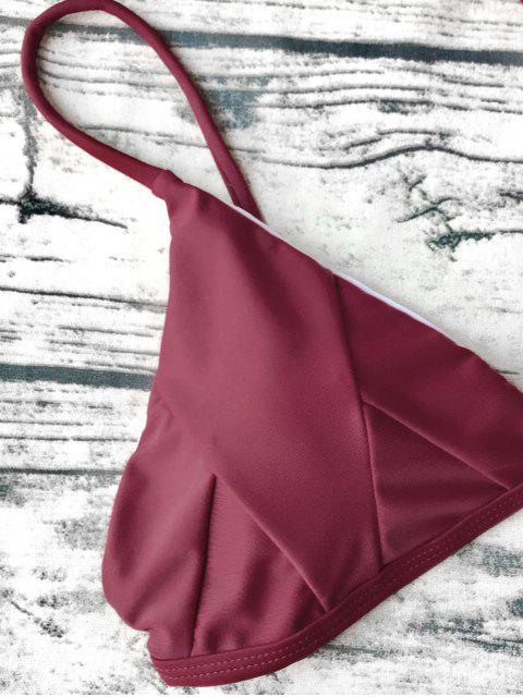 chic Soft Padded Cami Shell Bikini Set - BURGUNDY S Mobile