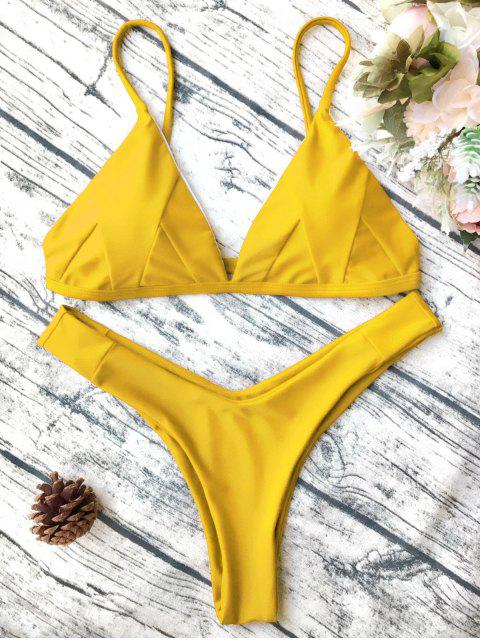 unique Soft Padded Cami Shell Bikini Set - YELLOW M Mobile