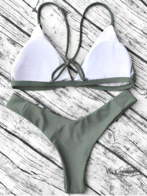 womens Soft Padded Cami Shell Bikini Set - ARMY GREEN S Mobile