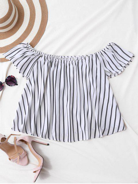 lady Flutter Off The Shoulder Top - WHITE S Mobile