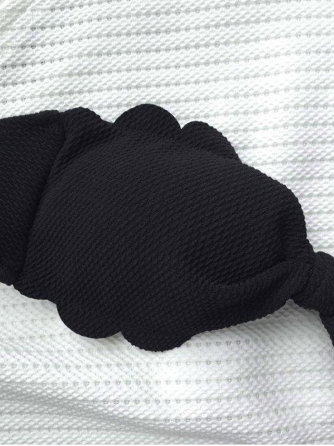 buy Scalloped Hem Bandeau Bikini Set - BLACK S Mobile