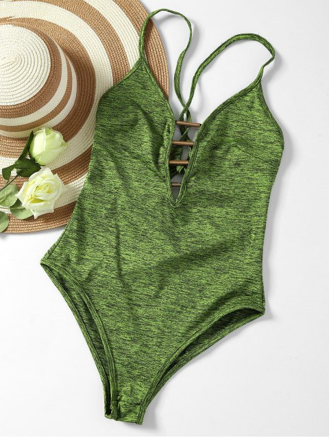 online Lace Up Plunge Neck Monokini - ARMY GREEN S Mobile