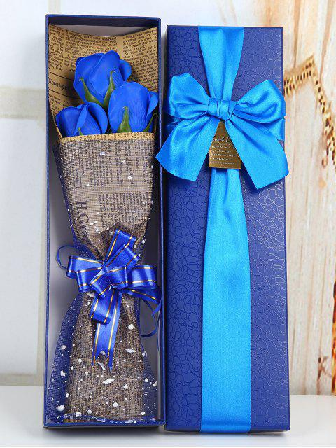 fashion Festival Gift Simulation Rose Soap Flowers Bouquet - BLUE  Mobile