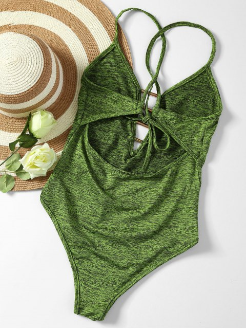 outfit Lace Up Plunge Neck Monokini - ARMY GREEN XL Mobile