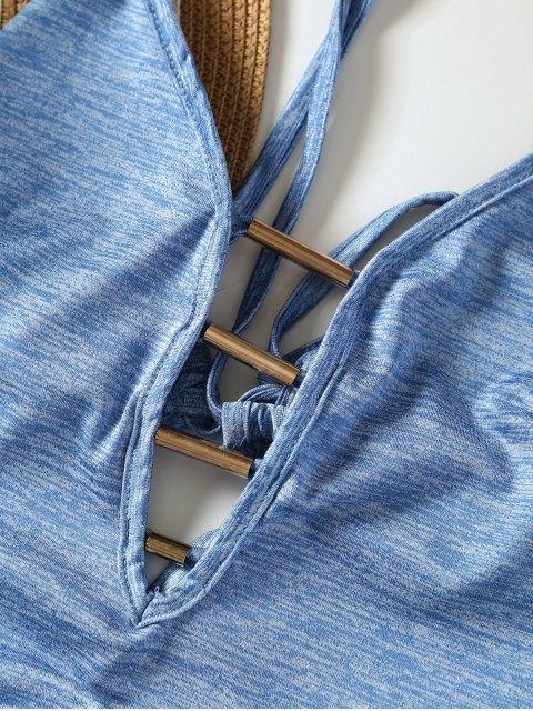 Maillot de bain monokini lacé haut col plongeant - Bleu clair M Mobile