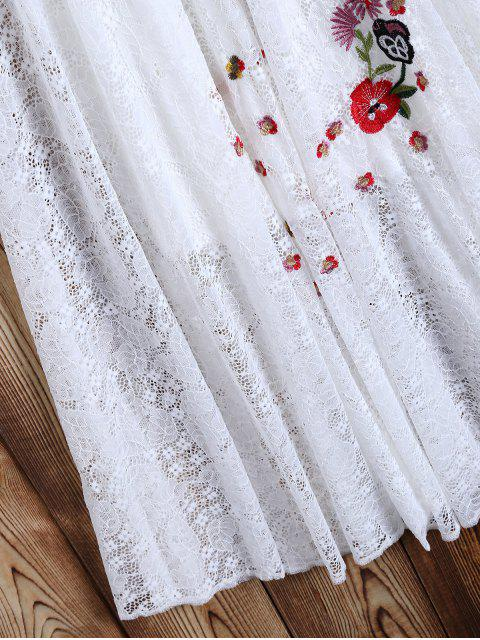 online Off Shoulder Embroidered Lace Dress - WHITE S Mobile
