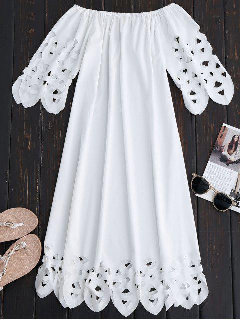 trendy Off The Shoulder Flared Dress - WHITE S Mobile