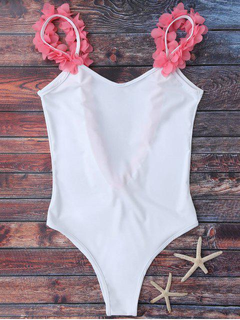 new Floral Strap Low Open Back Swimsuit - WHITE M Mobile
