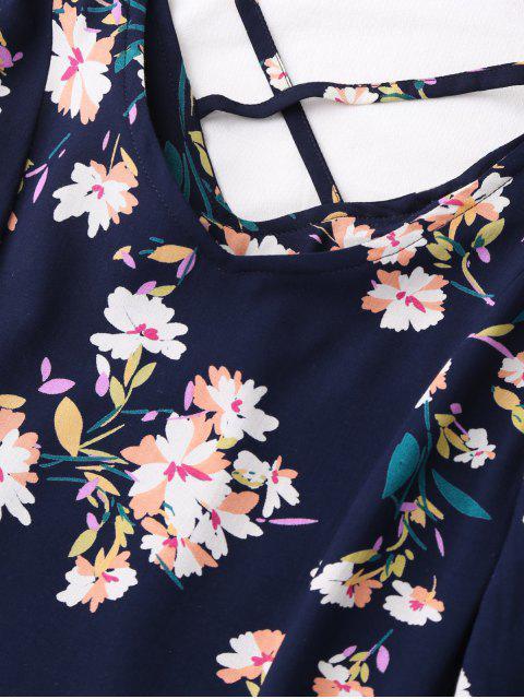 chic V Neck Floral Print Flared Dress - PURPLISH BLUE XL Mobile