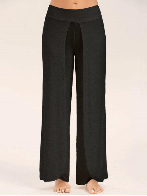 ladies High Slit Palazzo Pants - BLACK 2XL Mobile