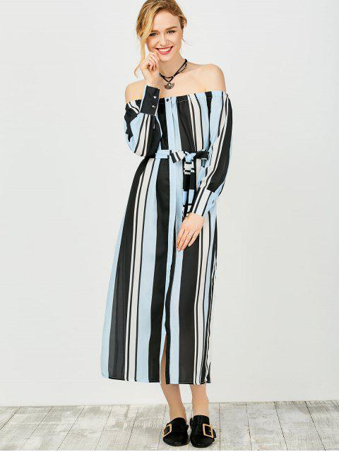 women's Multi Stripes Off The Shoulder Dress - BLUE AND BLACK L Mobile