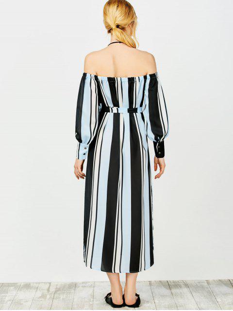 ladies Multi Stripes Off The Shoulder Dress - BLUE AND BLACK M Mobile