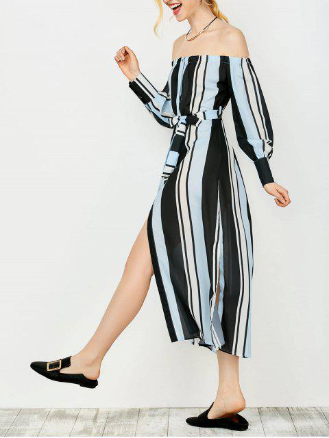 lady Multi Stripes Off The Shoulder Dress - BLUE AND BLACK S Mobile