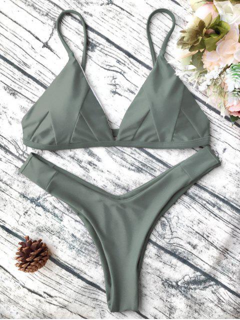 Traje de Bikini de Tirante Fino en Forma de Concha con Renello Blando - Verde del ejército S Mobile