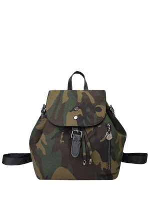 Buckle Strap Camo Print Backpack