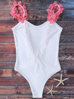 Floral Strap Low Open Back Swimsuit - White S