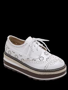 Évider Wingtip Tie Up Chaussures Plate-forme - Blanc 39