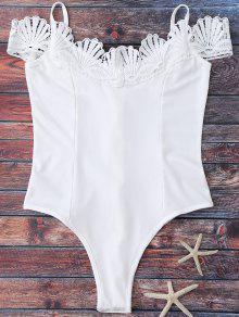 Lace Trim Off The Shoulder Bodysuit - White L