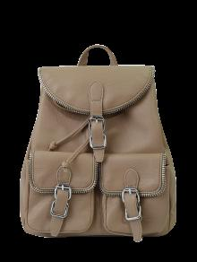 Buy Punk Buckles Front Pockets Backpack - LIGHT KHAKI