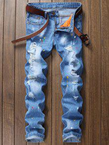 جينز بسحاب مستقيم مريح - ازرق 38