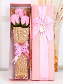 زهرة صابون اصطناع لهدية العيد مع صندوقها - زهري