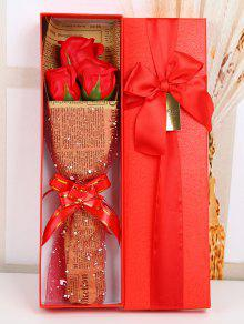 Buy Festival Gift Simulation Rose Soap Flowers Bouquet - RED