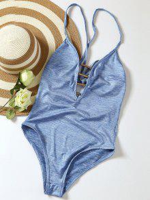 Lace Up Plunge Neck Monokini - Light Blue S