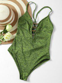 Lace Up Plunge Neck Monokini - Army Green Xl