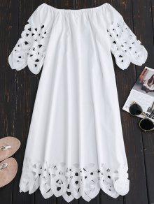 فستان بلا اكتاف توهج ميدي - أبيض Xl