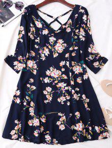 V Neck Floral Print Flared Dress - Purplish Blue L