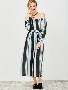 Multi Stripes Off The Shoulder Dress - Blue And Black M
