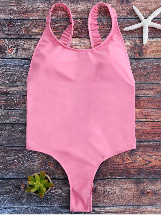 womens Cross Back Ruffles Thong Swimwear - PINK XL
