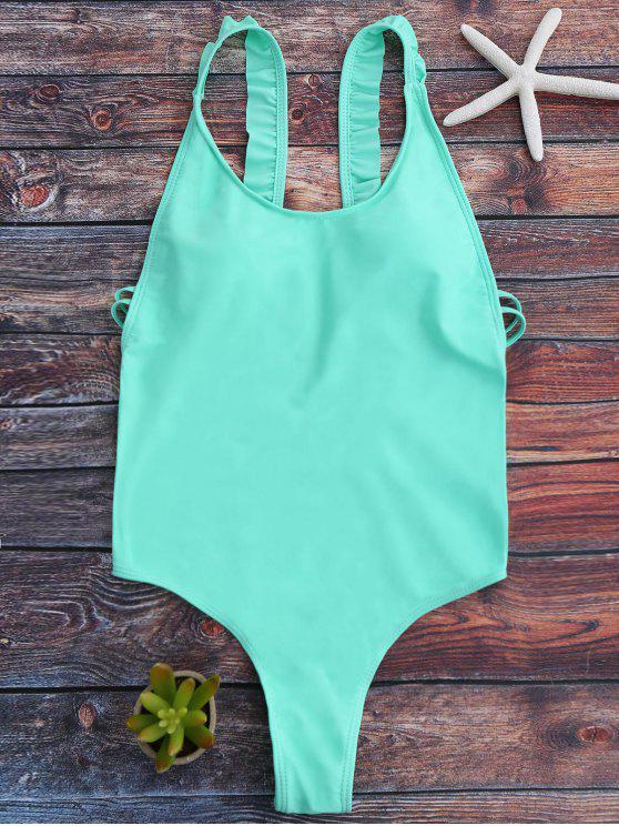 women Cross Back Ruffles Thong Swimwear - GREEN XL
