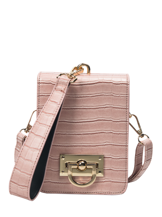 Metal Detalhe Mini Crossbody Wristlet Bag - Rosa